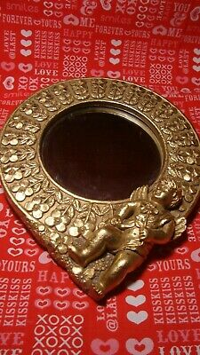 Vintage Victorian Heavy CHERUB~ANGEL ORNATE GOLD Mirror Made in Korea        277