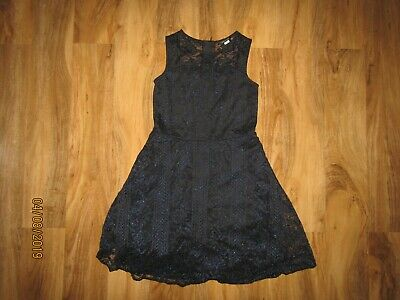 River Island navy blue lined shimmer skater dress age 12 years