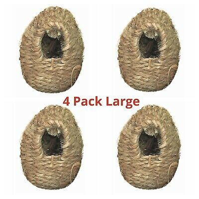 4 x Finch Nest Box Wicker Large with Hooks For Cage Hanging 15x11x11 Finches etc