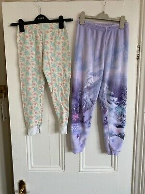 2 X Girls Frozen Pj Bottoms Sleepwear Age 8-9 Years
