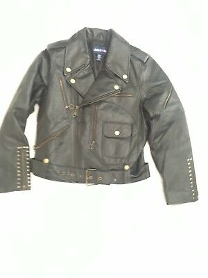 Limited Too Girls Genuine Leather Jacket Sz M Black