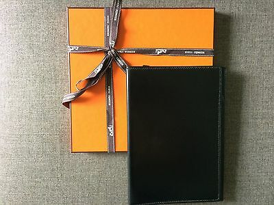 Authentic HERMES LARGE Agenda Cover Notebook Notepad Box Calfskin Black RARE