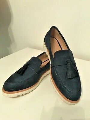 Fab Navy Suede Loafers - Size 7 40 - New Look