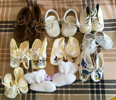 Lot of 10 Pairs Vintage Baby Shoes; Minnetonka Moccasins Disney White Leather