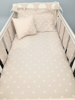 White /& Grey Polka DOT Baby Girl Bedding Set Heart CUSTHION to fit cot Bed COT Tidy 8 COT BAR Bumpers **New Luxury /& Exclusive Powder Pink Duvet Set 100x135cm