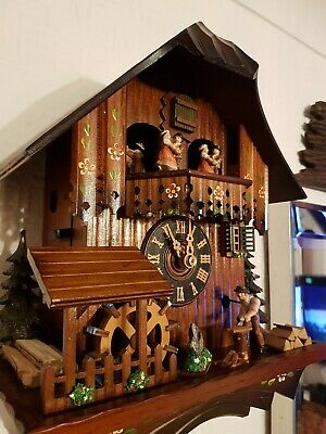 STUNNING GERMAN ANIMATED MUSICAL CUCKOO CLOCK/Servised/VERY Clean/ switch off