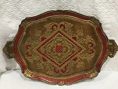 Vintage Italian Florentine Hand Painted Gold Gilt RED Wood Tole Serving Tray