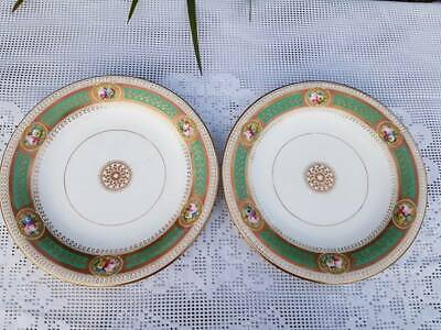 A pair of Antique English porcelain hand painted plates 8.90 inches