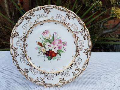 Antique English porcelain hand painted floral plate 9.30 inches