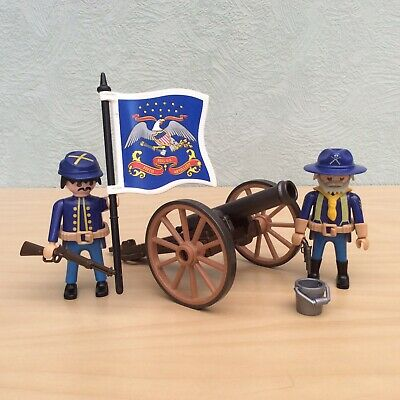 Playmobil Union Soldiers with Canon & flag: American Civil War ACW Army South