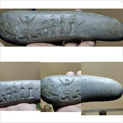 Very Old Big Stone Engraved Carving Sassanian King Family & Inscription 19 cm