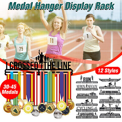Personalised Metal Steel Medal Holder Hanger Display Rack Ideal Running Swimming