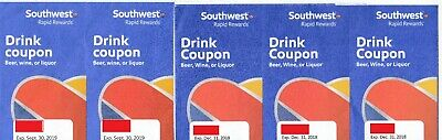 5 Southwest Airlines Coupons Drink Voucher Beverage expired SWA
