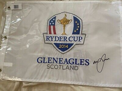 2014 Ryder Cup Gleneagles Scotland Pin Flag Graeme McDowell Signed AUTO Proof