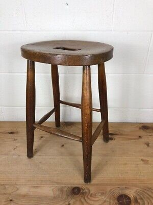 Antique 19th Century Elm Stool or Low Bar Stool  - Delivery Available