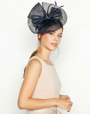 Debut Navy Blue Metallic Wave Bow Saucer Fascinator BNWT