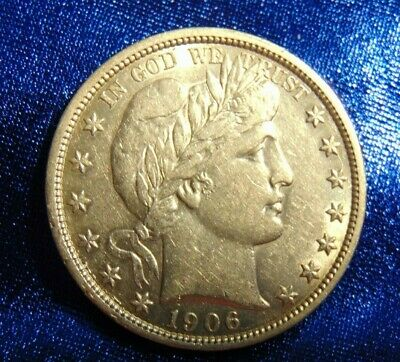 Choice About Uncirculated 1906 50C Barber Half Dollar - 3/4 Of Original Luster