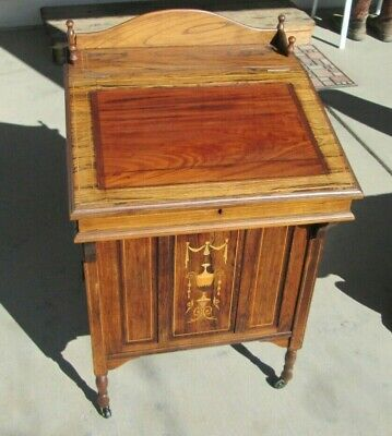 Beautiful 1800's antique inlay Davenport nautical desk cabinet showpiece