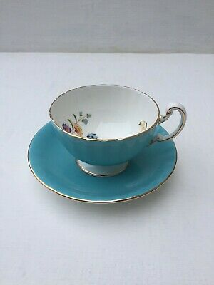 Aynsley Cottage Garden Butterfly Aqua  Tea Cup And Saucer