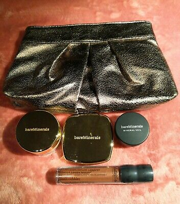 Makeup Set J - bareMinerals / 4 Items + Bag / Lip Gloss / Foundation / Eye Veil