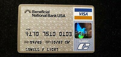 Beneficial National Bank USA Visa credit card exp 1987♡Free Shipping♡ cc696