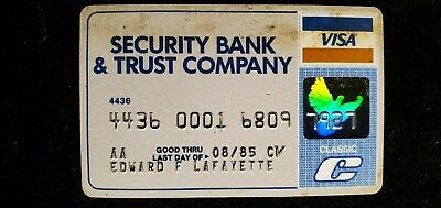 Security Bank & Trust Company Visa credit card exp 1985♡Free Shipping♡ cc699