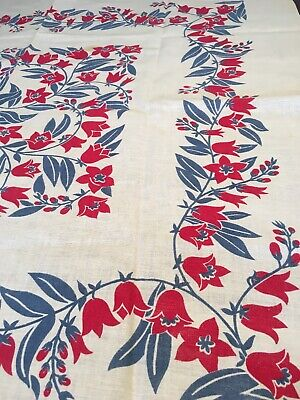 Pretty Vintage Tablecloth, Red and Blue Floral Cotton, 1950's