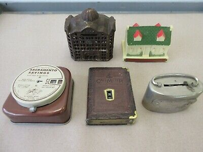 Five Old Banks  Cast Iron Metal Tin Plastic  ***Todays Garage Sale Find***
