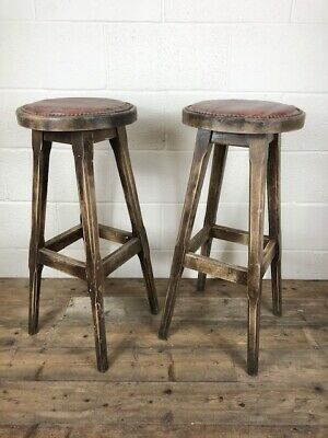Pair of Vintage High Wooden and Leather Studded Bar Stools - Delivery Available