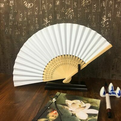 Vintage Elegant Chinese Folding Hand Paper Fan Asian Bamboo Wood Wedding Party