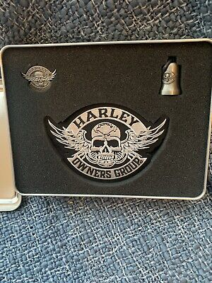 Harley Davidson Official HOG Welcome Kit Skull Patch, Pin and Guardian Bell