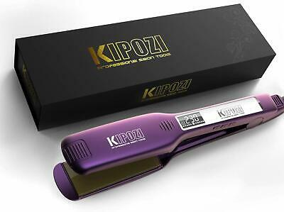Professional Hair Straighteners Wide Plate Titanium Flat Iron with Digital LCD