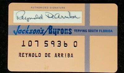 Jackson's Byrons serving South Florida charge card♡Free Shipping♡cc1044♡