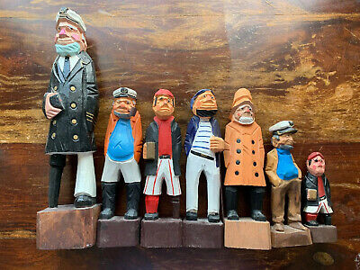 Wooden Folk Art Nautical Wood Carved Painted Fisher Man Captain Figure LOT of 7