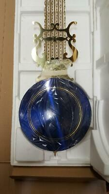 Hermle Grandfather clock  pendulum 114 cm Brass with blue enamel diamond cut