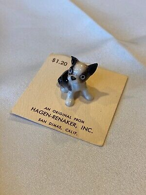 "Vintage HAGEN-RENAKER Boston Terrier Puppy Sitting Ears Up Miniature 1""  (A1)"