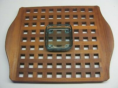 "Dansk JHQ Teak Lattice Tray 17.5"" x 13.5"" with a Glass Dish Mid Century Modern"