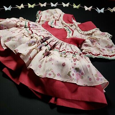 Marthas Miniatures 12 Mo? Baby Girl Pink Floral Dress Circle Lace Cotton Vintage