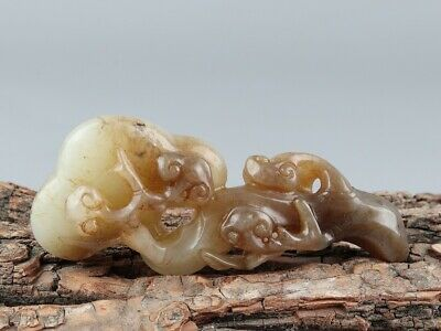 Chinese Exquisite Hand carved Ganoderma Carving Hetian jade Ruyi statue