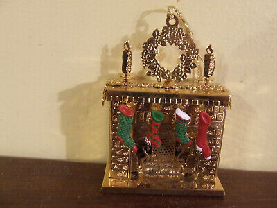 Danbury Mint Gold Plated Christmas Ornament RARE Fireplace with Stockings