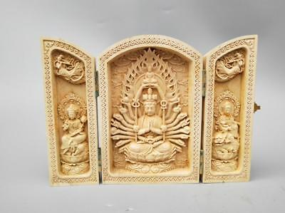 Exquisite Chinese Boxwood HANDWORK carving thousand hands guanyin Buddha statue