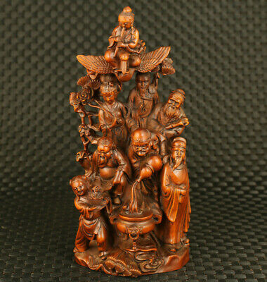 antique chinese old boxwood hand carved Eight Immortals statue blessing decorate