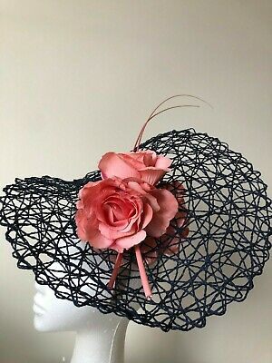 New navy basketweave fascinator with pink flowers and quills on a headband!