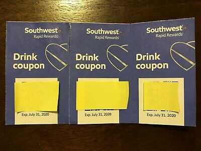 Three (3) SOUTHWEST Drink Coupons / EXPIRES 7/31/2020
