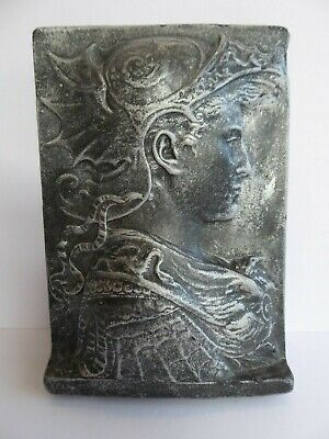 SUPERB ANTIQUE Arts&Crafts GOTHIC revival Arthurian KNIGHT Wall PLAQUE.c1920