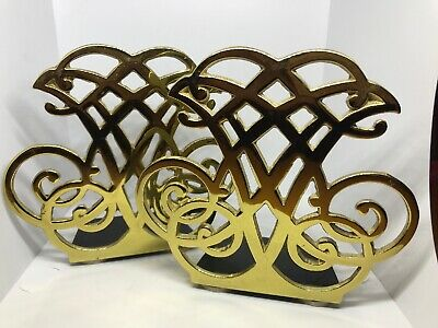 Vtg Virginia Metalcrafters Solid Brass Bookends Thomas Jefferson Cipher 1987 VCM
