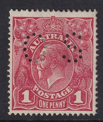 1d red KGV head, rough paper, Die 2, perf OS, mint