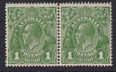 1d green KGV head, single wmk pair, with variety RA joined, MUH, superb