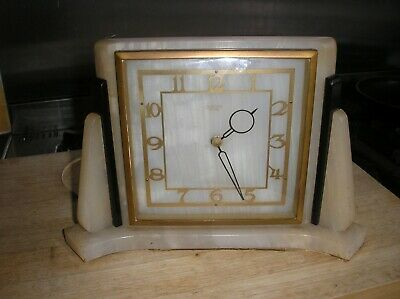 Solid marble art deco mantle clock