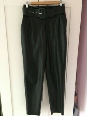 Zara Black Faux Leather High Waisted Tapered Leg Trousers 10 New